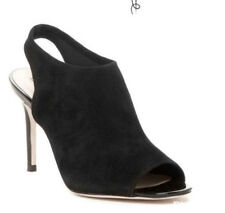 Cole Haan Heels Black Suede Slingback Sz 9 B Peep Toe Shoes Cocktail Party NIB