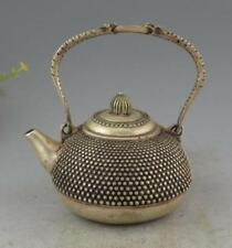 Chinese Tibet Silver carved Beautiful Leisurely Teapot Statue