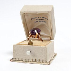 Antique 10K Gold Amythest Ring Art Deco Vintage Style - Free Ship - No Reserve