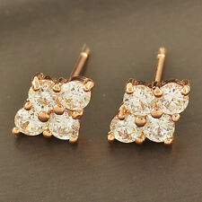 Pretty Cute New 9K Rose Gold Filled 4 Clear CZ Crystal Cluster Set Stud Earrings