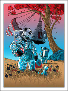 COACHELLA 2015 TIM DOYLE ART PRINT- 'ASTRO PANDAS IN TROUBLE' SILKSCREEN
