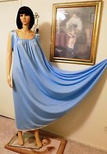 LUCIE ANN VTG Nylon BLUE Nightgown with Blue Satin Banded Sleeves size L large
