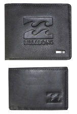 """Billabong Mens """"wave"""" Black Leather Wallet Two in One Trifold"""