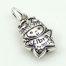 S925 Stamped Sterling Silver 11x15mm Libra Horoscope Zodiac Baby Star Pendant