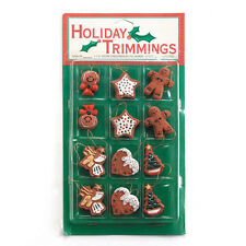 Lot of 12 Christmas Gingerbread Cookie Mini Ornaments Country Primitive