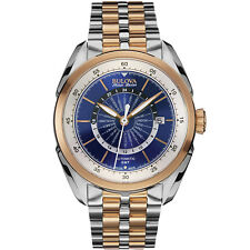 Bulova Accu Swiss Men's 65B163 Automatic World Time Two-Tone Blue Dial Watch