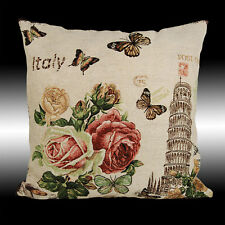 """SHABBY CHIC ROSES LEANING TOWER OF PISA DECO THROW PILLOW CASE CUSHION COVER 17"""""""