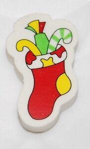 30 Christmas Xmas Pencil Erasers - Stocking Design Great Bag fillers