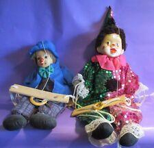 Vintage Clown Puppet Marionette Porcelain Head Dolls (2) On Wood Swings