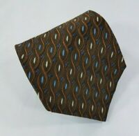 Jos A. Bank Silk Tie Brown Geometric Pattern w/Light Blue Beige Made in Italy