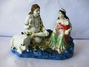 "Antique German Bisque Figure Ravi Varma Shiva Ganesha Parvati Bull Nandin ""K16"