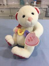 Hallmark Teddy Bear Plush Hug Me Sweetheart Candy Stuffed Animal White
