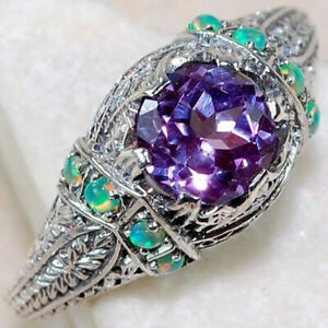 925 Silver Amethyst Turquoise Ring for Women Wedding Ring Jewelry Gift Size 6-10