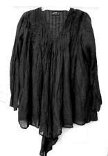 CARAVAN GALLERY BLACK COTTON BLOUSE with BOTTOM TIES Size XL-1X