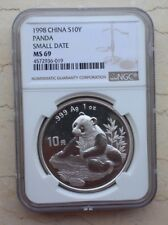 NGC MS69 China 1998 Silver 1oz Panda Coin (Small Date)