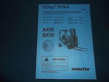 KOMATSU AX50 BX50 SERIES FORKLIFTS OPERATION & MAINTENANCE BOOK MANUAL