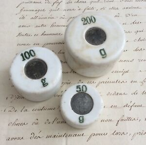 3 Antique Weight IN Porcelain 200gr 100gr 50 Gr Pharmacy Apothecary