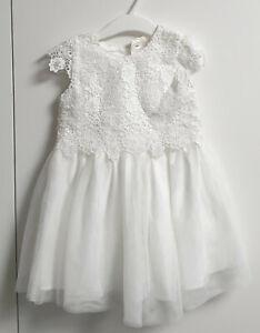 Traumhaftes weißes Kleid Kleidchen festlich Taufe Hochzeit Gr.(86) 92 PayPal