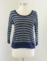 Lucky Brand Blue Knit Striped Button Accent 3/4 Sleeve Sweater Size XS