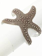 "2.50"" wide brown textured starfish sea life nautical cuff bangle bracelet metal"