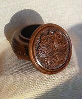 """Round Wood Carved Box Ukrainian souvenir Necklace Jewelry Gift Box 4"""" walnut"""