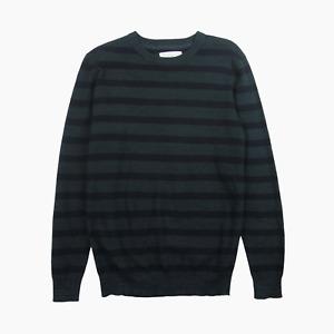 Folk Cupid Jacquard Stripe Mens Knit Crew Jumper 3 M Medium Navy Sweater BNWT