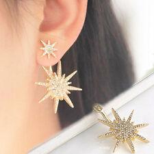Lady Women Crystal Rhinestone 1 PC Dangle Gold Earrings Star Ear Stud Earring