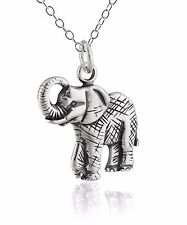 Elephant Charm Necklace - 925 Sterling Silver - Elephant Zoo Animal Jewelry *NEW
