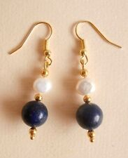 Lapis Lazuli Gemstone Freshwater Pearl Gold Plated Earrings Gift Bag