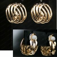 CLIP ON small 1.6cm GOLD TONE RETRO 80s vintage style EARRINGS square cutout