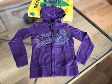 "Sweat shirt Lucky Brand front zipper-hood embroided ""Faith"" size S  excellent"