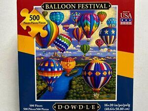 "Dowdle Hot Air Balloon Festival 500 Piece Jigsaw Puzzle Folk Art 16"" x 20"""