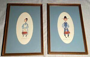 P. Buckley Moss Hand Signed Framed Prints Amish Boy & Girl Apple Basket 1977