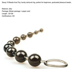 SASY 10 BEADS ANAL TOY Handy Ring PLEASURE BEADS Sex Toy Gelly 30cm Black