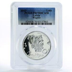 Latvia 1 lats 200 Years Composer Richard Wagner Ship PR70 PCGS silver coin 2013