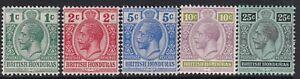 British Honduras 1913 Values between Sg101-106 - 1c to 25c - mounted mint