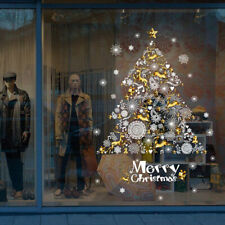 Merry Christmas Wall Sticker Big Christmas Tree Pattern Glass Showcase Wind%f