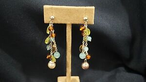 18k Gold multi gemstone confetti style earrings