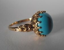 New 9ct yellow gold Turquise fancy designed  ladies ring UK size 0