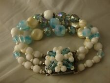 Vintage Jewelry 3 Strand Blue Givre Glass Beads Milk Glass and Crystal Bracelet