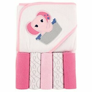 Luvable Friends Unisex Baby Hooded Towel with Five Washcloths Pink Elephant O...