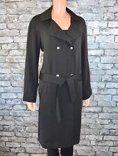 Long Black Collared Lined Belted Trenchcoat Over Coat Rain Jacket Size 10 -EU 38