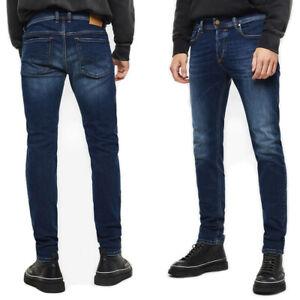 Diesel Herren Slim Skinny Fit Röhren Stretch Jeans Dunkel Blau Sleenker 086AJ