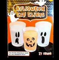 Halloween Clings Stick On Party Decorations Cup Window Spooky Faces 17 Count NIP