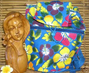 NIP Blue Base with Multi-Color Hibiscus Canvas Drawstring BackPack