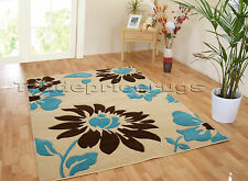 Large Light Beige Cream Brown Teal Blue Daisy Flower Hand Carved Rug 120x165