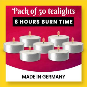 Tealights Vegan 8 hours burning tealights in bags of 50 Made in Germany