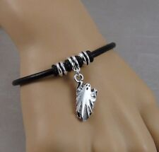 Ghost Bracelet - Halloween Haunted Ghoul Charm Bracelet - Black Leather Cord