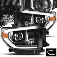 For 2014-2019 Toyota Tundra (TRD-PRO Style) Glossy Black Projector Headlights