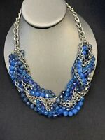 Vintage Woven Blue Shades Silver Tone Crystal 18 inch Beaded statement Necklace